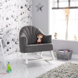 Obaby Round Back Rocking Chair Grey Fabric