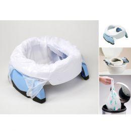 Potette Plus Potty & 3 Liners White & Blue