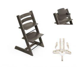 Stokke® Tripp Trapp® Chair, Baby Set™ & Harness Hazy Grey