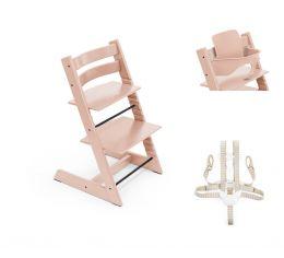 Stokke® Tripp Trapp® Chair, Baby Set™ & Harness Serene Pink
