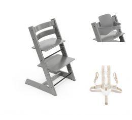 Stokke® Tripp Trapp® Chair, Baby Set™ & Harness Storm Grey