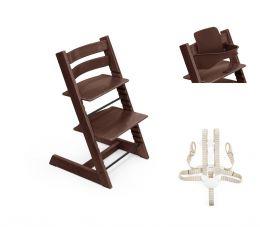 Stokke® Tripp Trapp® Chair, Baby Set™ & Harness Walnut