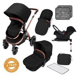 Ickle Bubba Stomp V4 Pram with Galaxy Car Seat Midnight/Bronze