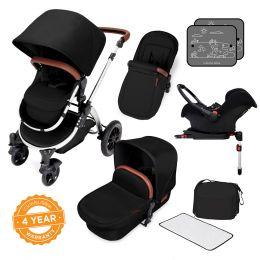 Ickle Bubba Stomp V4 Pram with Galaxy Car Seat Midnight/Chrome