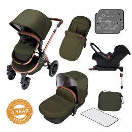 Ickle Bubba Stomp V4 Pram with Galaxy Car Seat Woodland/Bronze