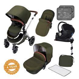 Ickle Bubba Stomp V4 Pram with Mercury I-Size Car Seat & Isofix Woodland/Chrome