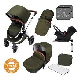 Ickle Bubba Stomp V4 Pram with Galaxy Car Seat Woodland/Chrome