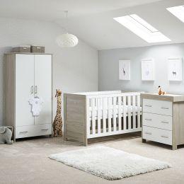Obaby Nika 3 Piece Room Set Grey Wash And White