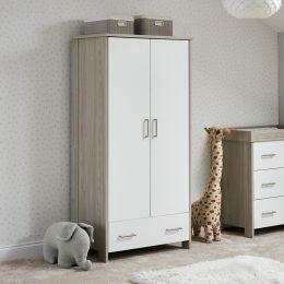 Obaby Nika Double Wardrobe Grey Wash And White