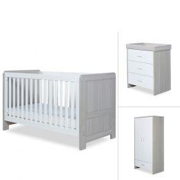 Ickle Bubba Pembrey 3 Piece Furniture Set Ash Grey & White