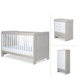 Ickle Bubba Pembrey 3 Piece Furniture Set Ash Grey & White Trend