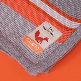 Ziggle Knitted Stripe Blanket by Cosatto Grey/Orange