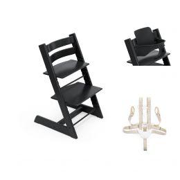 Stokke® Tripp Trapp® Chair, Baby Set™ & Harness Black Plus Free Tray