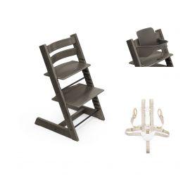 Stokke® Tripp Trapp® Chair, Baby Set™ & Harness Hazy Grey Plus Free Tray