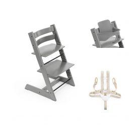 Stokke® Tripp Trapp® Chair, Baby Set™ & Harness Storm Grey Plus Free Tray